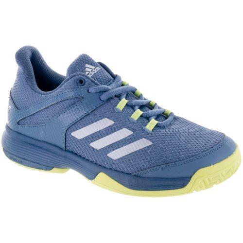 adidas adizero Club K Junior Feather Blue/Yellow: adidas Junior Tennis Shoes