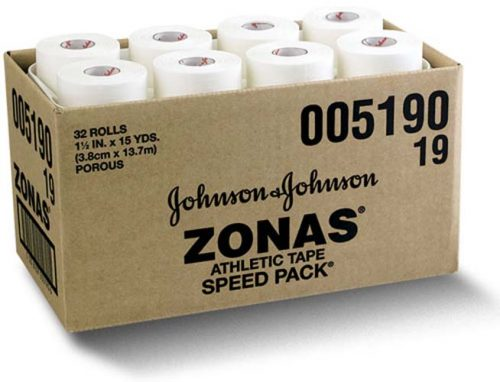 "1 1/2"" Johnson & Johnson ZONAS Plain Athletic Tape - 15 yards (32 rolls)"