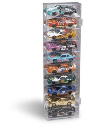 10 Car Mirrored Back Vertical Display Case for 1/24 Scale Cars from Clearwater Displays