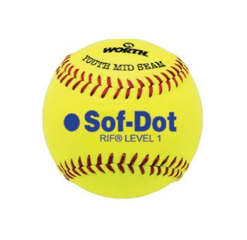 "10"" Yellow Level 1 Synthetic Softballs from Worth - 1 Dozen"