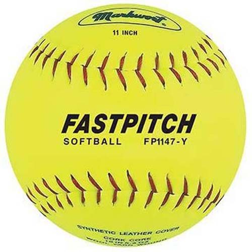 "11"" Yellow Fast Pitch Softballs from Markwort - 1 Dozen"