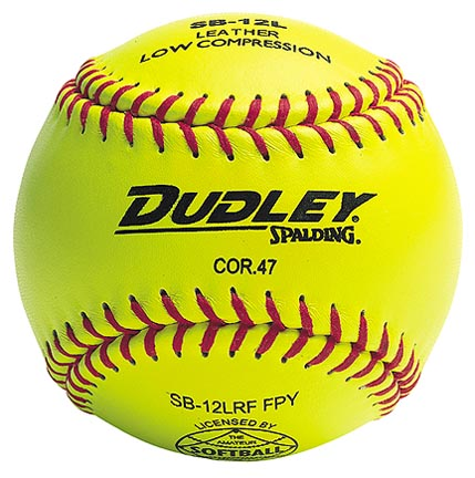 "12"" Spalding SB12L Cork Center .47 COR Red Stitch NFHS Yellow Fast Pitch Softballs from Dudley - (One Dozen)"
