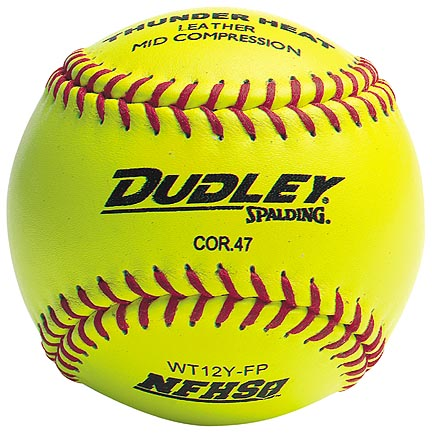 "12"" Spalding Thunder Heat WT12 Red Stitch .47 COR NFHS Yellow Leather Softballs from Dudley - (One Dozen)"