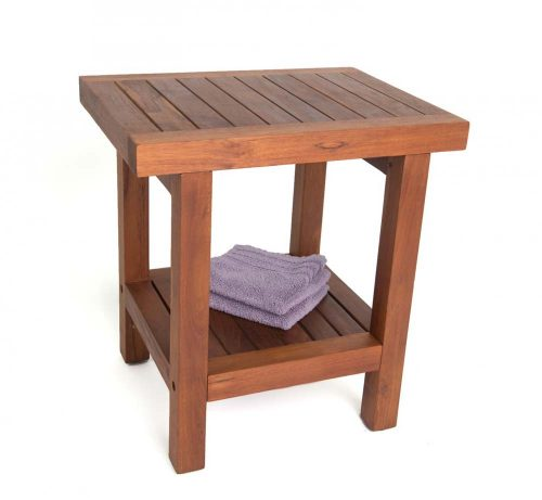 "17"" Teak Spa Stool With Shelf"