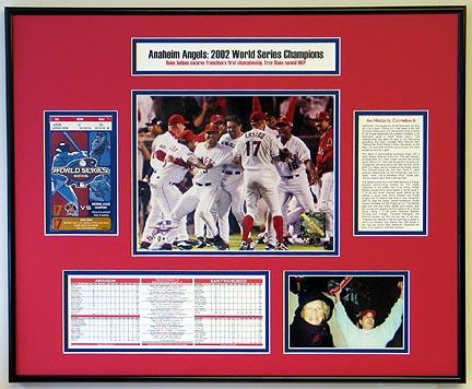 2002 World Series Anaheim Angels Ticket Frame - Includes Statistics and Game Photograph