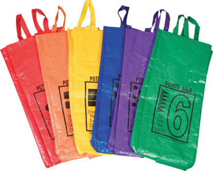 "26"" Colored / Numbered Potato Sacks - Set of 6"