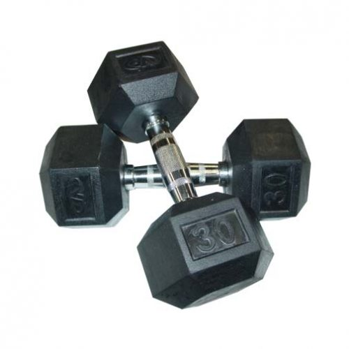 30 lb. Rubber Hex Dumbbells from Valor Athletics (One Pair)