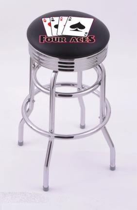 """4 Aces"""" (L7C3C) 30"""" Tall Logo Bar Stool by Holland Bar Stool Company (with Double Ring Swivel Chrome Base)"""