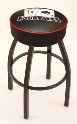 "4 Aces"" (L8B1) 25"" Tall Logo Bar Stool by Holland Bar Stool Company (with Single Ring Swivel Black Solid Welded Base)"