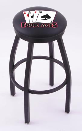 "4 Aces"" (L8B2B) 25"" Tall Logo Bar Stool by Holland Bar Stool Company (with Single Ring Swivel Black Solid Welded Base)"