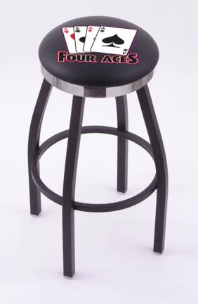 """4 Aces"""" (L8B2C) 25"""" Tall Logo Bar Stool by Holland Bar Stool Company (with Single Ring Swivel Black Solid Welded Base)"""