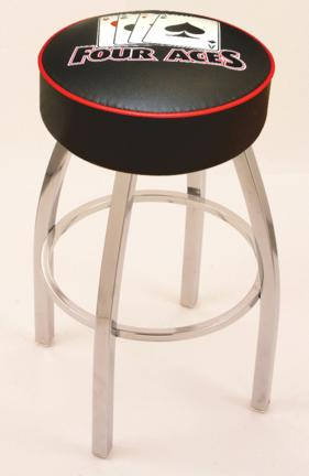 "4 Aces"" (L8C1) 25"" Tall Logo Bar Stool by Holland Bar Stool Company (with Single Ring Swivel Chrome Solid Welded Base)"