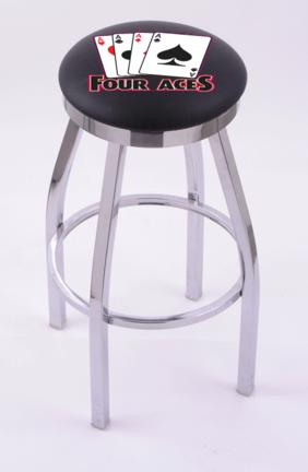 "4 Aces"" (L8C2C) 25"" Tall Logo Bar Stool by Holland Bar Stool Company (with Single Ring Swivel Chrome Solid Welded Base)"