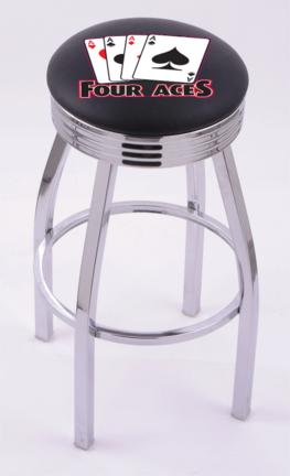 "4 Aces"" (L8C3C) 30"" Tall Logo Bar Stool by Holland Bar Stool Company (with Single Ring Swivel Chrome Solid Welded Base)"