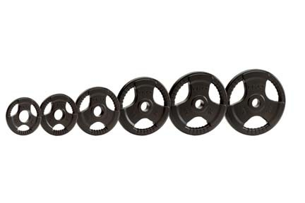 45 lb. Olympic Tri-Grip Urethane Weight Plate (Black) from TKO Sports