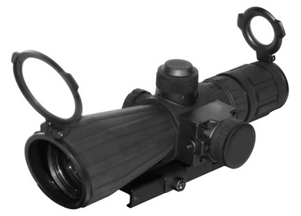4x32 Rifle Scope Rubber Compact With Red Laser/Blue Illumination/Green Lens/Quick Release