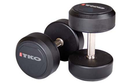 5 lb. Solid Steel Urethane Coated Dumbbells with Tri-Grip Handle - 1 Pair