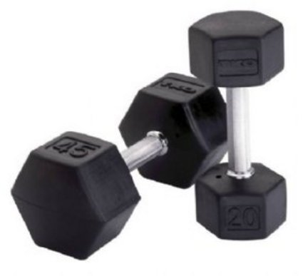 65 lb. TKO Rubber Encased Hex Dumbbell (Black)