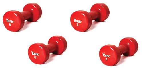 8 lb. Colored Vinyl Coated Dumbbells From York - 2 Pair (4 Dumbbells Total)