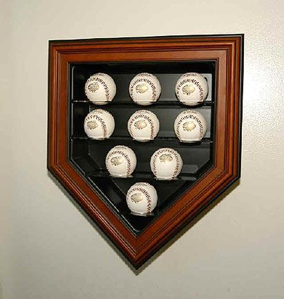 9 Ball Home Plate Cabinet Style Display Case (Mahogany Finish)