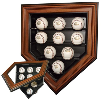 9 Ball Home Plate Cabinet Style Display Case (Wood Finish)