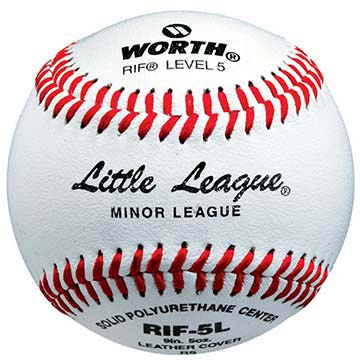 "9"" Reduced Injury Factor Poly-X Core Level 5 Little League Leather Baseballs from Worth - (One Dozen)"