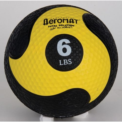 AGM Group 35862 Elite Deluxe Low Bounce Medicine Ball - Black-Yellow 6 Lb