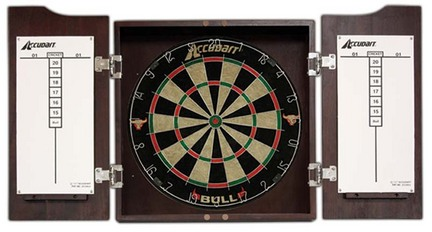 Accudart Bull Dart board Cabinet And Set