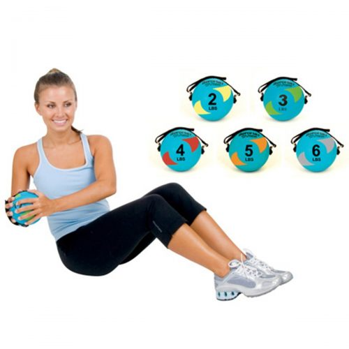 AeroMat 35942 5 in. Power Yoga & Pilates Weight Ball - Teal & Red 4 lbs