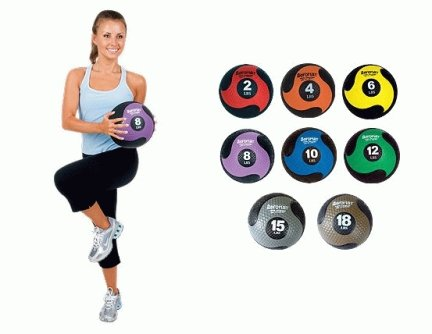 AeroMat 35977 10 in. Deluxe Medicine Ball - Black & Gray 15 lbs