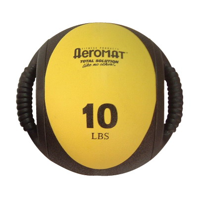 Aeromat 35133 Dual Grip Power Med Ball 9 in. Dia. 10 LB Black- Yellow