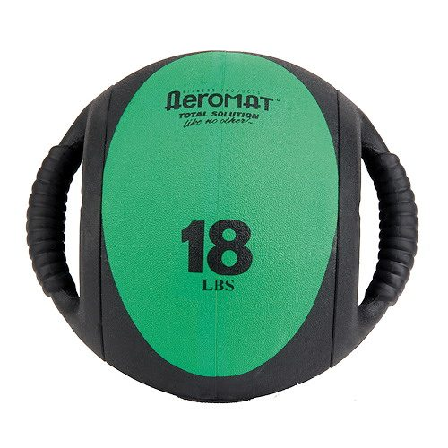 Aeromat 35137 Dual Grip Power Med Ball 9 in. Dia. 18 LB Black- Green