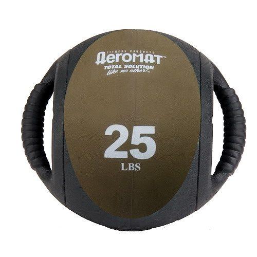 Aeromat 35139 Dual Grip Power Med Ball 9 in. Dia. 25 LB Black- Bronze