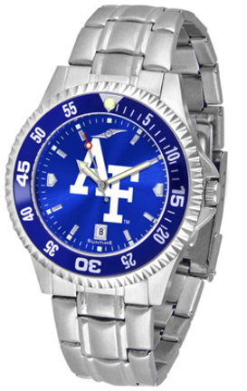 Air Force Academy Falcons Competitor AnoChrome Men's Watch with Steel Band and Colored Bezel