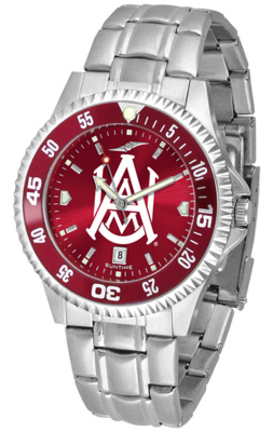 Alabama A & M Bulldogs Competitor AnoChrome Men's Watch with Steel Band and Colored Bezel