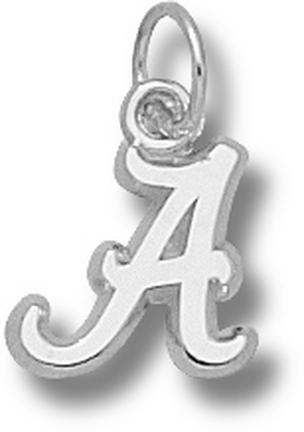 "Alabama Crimson Tide 3/8"" Script ""A"" Charm - 14KT White Gold Jewelry"