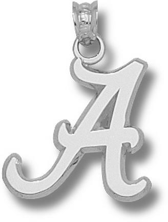 "Alabama Crimson Tide 5/8"" Script ""A"" Pendant - 10KT White Gold Jewelry"