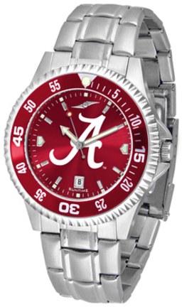 Alabama Crimson Tide Competitor AnoChrome Men's Watch with Steel Band and Colored Bezel