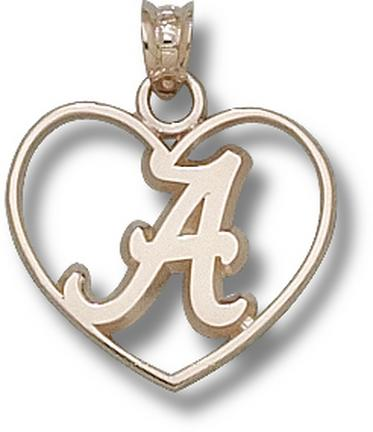 "Alabama Crimson Tide Script ""A Heart"" Pendant - 10KT Gold Jewelry"