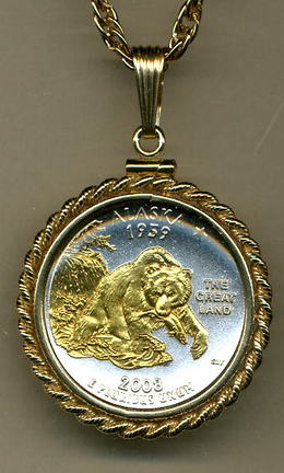 "Alaska Two Tone Rope Bezel Statehood Quarter Pendant with 18"" Rope Necklace"