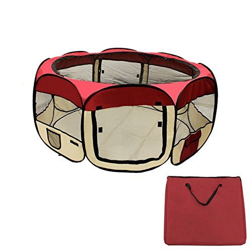 Aleko DK-61-BG-UNB 57 x 24 in. Octagon Pet Playpen Dog Puppy Exercise Kennel Burgundy
