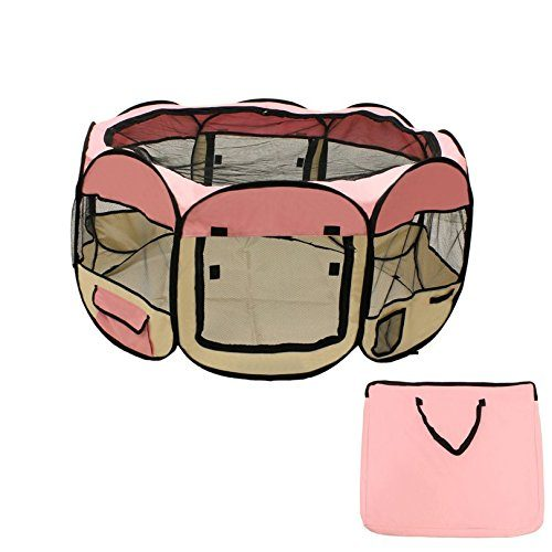Aleko DK-61-PK-UNB 57 x 24 in. Octagon Pet Playpen Dog Puppy Exercise Kennel Pink