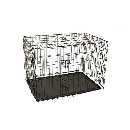 Aleko SDC-3D-24B-UNB 24 in. 3 Doors Dog Kennel Crate Cage with Abs Tray