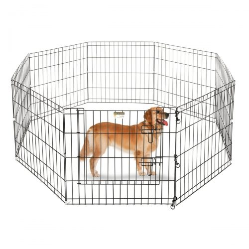 Aleko SDK-42B-UNB 42 in. 8 Panel Dog Playpen Pet Kennel Pen Exercise Cage Fence Black
