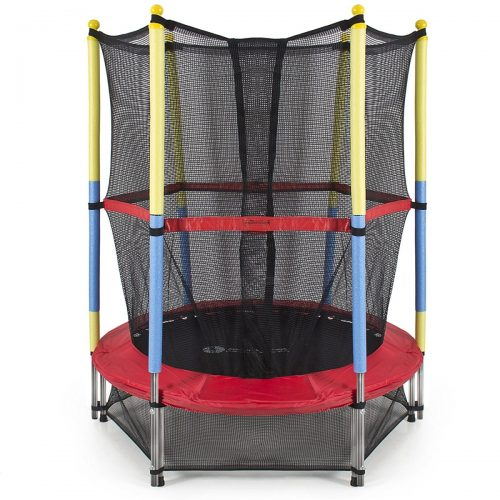Aleko TRP55-UNB 55 in. Mini Exercise Trampoline for Kids with Safety Net Black & Red