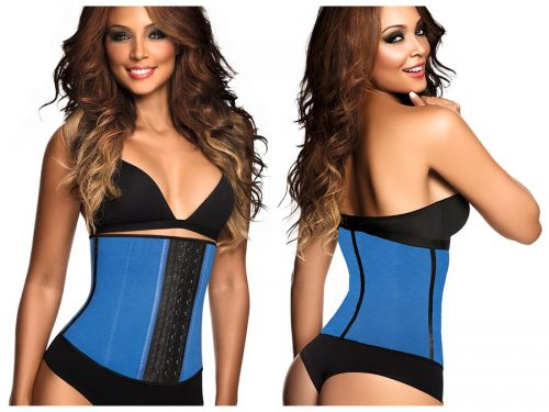 Ann Chery Womens Ann Chery 2013 2023 Latex Sport Workout Waist Cincher Corset Blue - Extra Large