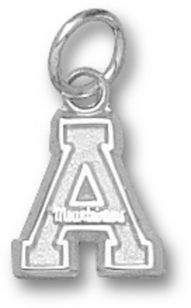 "Appalachian State Mountaineers 3/8"" ""A"" Charm - 14KT White Gold Jewelry"