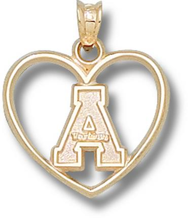 """Appalachian State Mountaineers """"A"""" Heart Pendant - 10KT Gold Jewelry"""