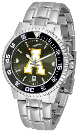 Appalachian State Mountaineers Competitor AnoChrome Men's Watch with Steel Band and Colored Bezel
