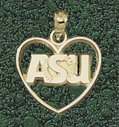 "Arizona State Sun Devils ""ASU"" Sunburst Heart Pendant - 10KT Gold Jewelry"
